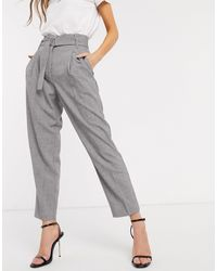 Y.A.S Tailored Pants With Belted Waist - Gray