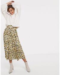 Gestuz Falda midi con estampado - Amarillo