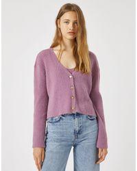 Pull&Bear Cardigan corto rosa
