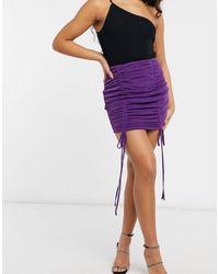Naanaa Ruched Bodycon Skirt - Purple