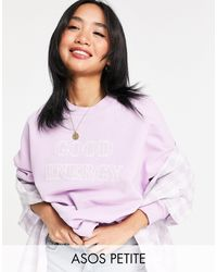 ASOS Asos Design Petite Sweatshirt With Good Energy - Purple