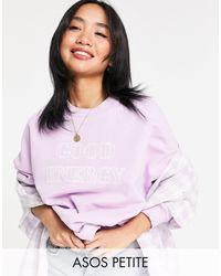 ASOS ASOS DESIGN Petite - Sweat-shirt à imprimé Good Energy - Lilas - Violet