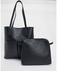 Claudia Canova Unlined Two Pocket Tote Bag - Black