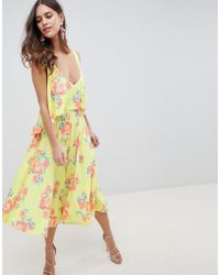 ASOS - Design Slinky Floral Cape Midi Dress - Lyst