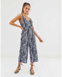 River Island Plisse Jumpsuit In Zebra Print - Blue