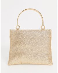 Glamorous Occasion Boxy Clutch Bag With Metal Handle Detail - Metallic