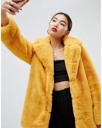 NA-KD - Oversized Faux Fur Coat In Mustard - Lyst