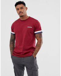 Lambretta T-shirt avec bandes contrastantes sur les manches - Rouge