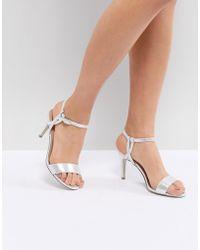 793da1add69f New Look Glitter Twist Front Heeled Sandal in Metallic - Lyst