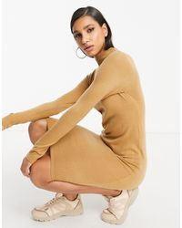 Brave Soul Rouse Turtleneck Sweater Dress-brown - Natural