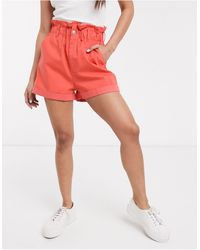 ASOS Casual Short With Paperbag Waist - Pink