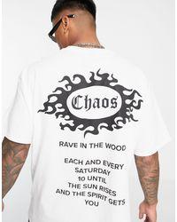 Honour HNR LDN - T-shirt oversize à imprimé chaos au dos - Blanc