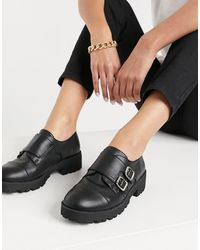 London Rebel Chunky Double Monk Shoes - Black