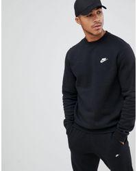 Nike Черный Свитшот С Круглым Вырезом Club - Многоцветный