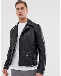 Barneys Originals Bikerjacke aus echtem Leder mit Reißverschluss - Schwarz