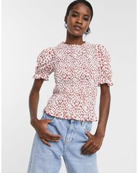 Glamorous Relaxed Short Sleeve Top - Red