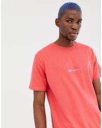 Mennace T-shirt oversize avec logo en écriture cursive - Rouge