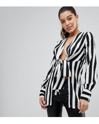 PRETTYLITTLETHING | Stripe Tie Front Blouse | Lyst