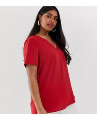 Simply Be V Neck Blouse In Red