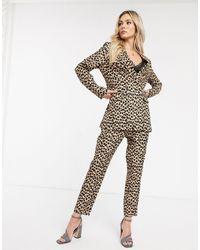 Never Fully Dressed Pantaloni sartoriali con stampa leopardata - Multicolore
