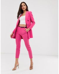 Stradivarius Co Ord Belted Tailored Trousers - Pink