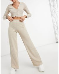 Bershka Recycled Cotton Ribbed Wide-leg Trousers Co-ord - Natural