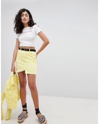 PrettyLittleThing - Frayed Edge Denim Mini Skirt - Lyst