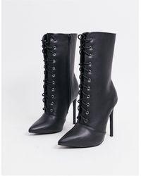 Glamorous Lace Up Boots - Black
