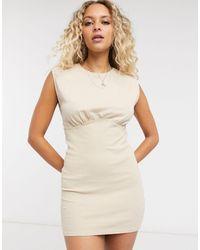 Bershka Jersey Dress With Corset Structure - Natural