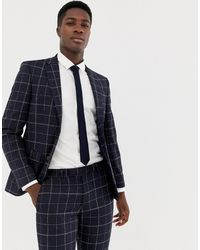 Moss Bros Moss London Skinny Suit Jacket With Windowpane Check - Blue