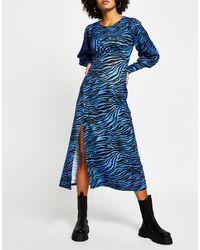 River Island Vestito midi blu con stampa zebrata