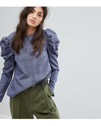 Reclaimed (vintage) - Inspired Checked Blouse With Extreme Sleeves - Lyst
