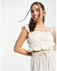 Skylar Rose Ruched Crop Top With Frill Sleeves - White