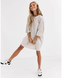 ASOS - Платье-футболка В Стиле Oversized Бежевого Цвета - Lyst
