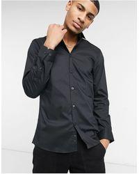 Moss Bros Узкая Эластичная Рубашка Черного Цвета Moss London-черный