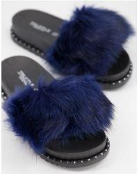 Truffle Collection Синие Слиперы Из Искусственного Меха -голубой - Синий