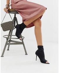 ASOS Esther - Stiletto Sock Boots Met Open Teen - Zwart