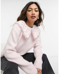 River Island Pull oversize avec col - clair - Rose