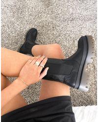 Bershka Черные Ботинки Без Застежки На Массивной Контрастной Подошве -черный Цвет