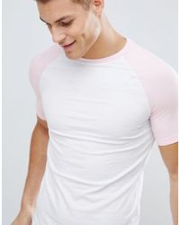 ASOS - Muscle Fit Raglan T-shirt With Contrast Sleeves - Lyst