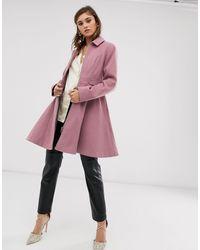 ASOS – Ausgestellter Mantel mit Reißverschluss vorn - Pink