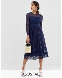 ASOS Темно-синее Кружевное Приталенное Платье Миди - Синий