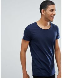 Jack & Jones Essentials - Lang T-shirt Met Lage Ronde Hals - Blauw