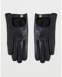 ASOS – Schlichte Touchscreen-Lederhandschuhe - Schwarz