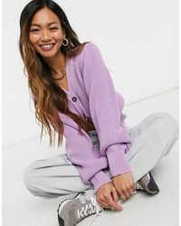 Glamorous Cropped Knitted Cardigan With Balloon Sleeves - Purple