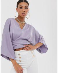 ASOS Plunge Top With Kimono Sleeve - Purple