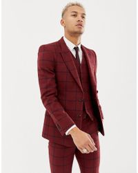 ASOS Wedding Skinny Suit Jacket In Burgundy Wool Mix Check - Red