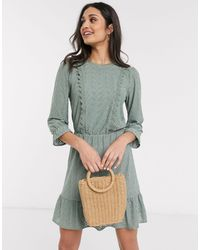 Oasis Broderie Ruffle Wrap Midi Dress - Green