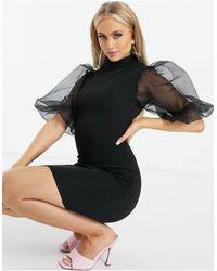 AX Paris Черное Платье Мини С Рукавами Из Органзы -черный