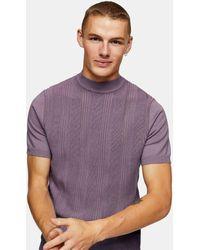 TOPMAN - Сиреневый Вязаный Джемпер С Высоким Воротом И Декоративной Строчкой -фиолетовый Цвет - Lyst
